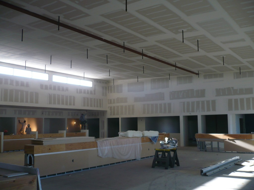 The interior drywall scope of work included 1900 sheets 5/8″ drywall, 350 sheets of shear board (metal backed), 200 sheets of cement backer board & almost 100,000 SF of level 5 finish.